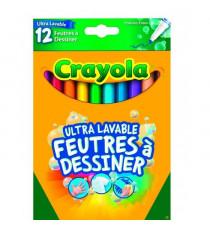 Crayola - 12 Feutres a dessiner ultra lavables (pointe fine) - boîte française - se nettoie sans frotter