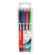 STABILO 4 stylos-feutres SENSOR M - pointe moyenne : Noir, bleu, rouge, vert