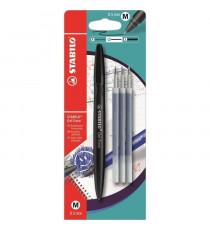 STABILO Stylo roller effaçable Gel EXXX et 3 recharges - Noir