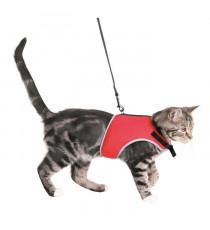 TRIXIE Harnais doux avec laisse - Rouge et noir - Pour chat