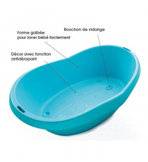 BEBEANGEL Baignoire confort avec bouchon de vidange  Coloris Turquoise