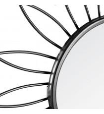 ATMOSPHERA Lot de 3 miroir en forme de fleur - Métal, verre et carton - Diametre : 25 cm - Noir