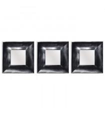 Lot de 3 miroirs carrés modernes - 25x25 cm - Noir