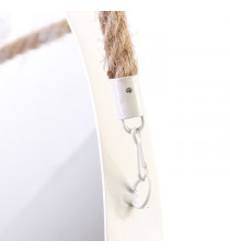 JOSEPH Miroir rond a suspendre  - 50 cm - Blanc et jonc de mer