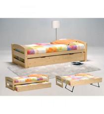 THOMAS Lit gigogne contemporain en bois épicéa massif vernis naturel + pieds en métal + sommiers - l 90 x l 190 cm