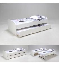 SWING Lit gigogne enfant 90 x 190 cm blanc - Contemporain