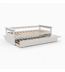 ARTUS Banquette lit gigogne style contemporain en bois massif blanchi - l 90 x L 190 cm