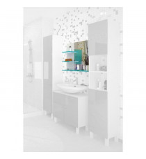 CORAIL Meuble miroir de salle de bain L 60 cm - Bleu lagon brillant