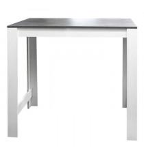 CURRY Table bar 110x70 cm - Blanc et décor béton