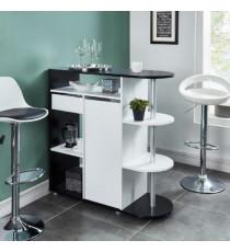 DAMIA Table bar style contemporain noir et blanc mat - L 100 x l 40 cm