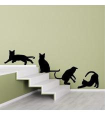 WALL IMPACT Stickers Silhouettes de chats - 40x37x1 cm - Vinyle calandré monomérique
