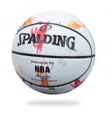 SPALDING Ballon de basket-ball NBA Marble Mc Outdoor - Blanc - Taille 7