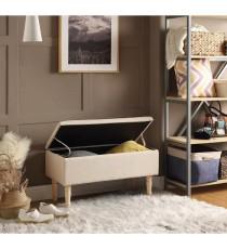 EMILIE Banc avec coffre de rangement - Tissu beige écru - Classique - L 80 x P 43,5 cm