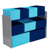 DELTAKIDS - Meuble de rangement 9 casiers - Jouets en bois et tissu - Non-tissu - Bleu - Mixte - Enfant - A partir de 2 ans