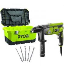 RYOBI Perceuse a percussion 1010W + 5 forets + Toolbox