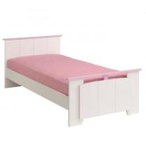 ELEGANCE Lit enfant contemporain Décor blanc et rose - l 90 x L 190 cm