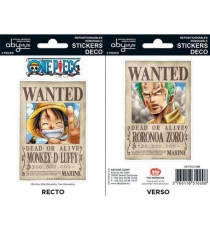 Stickers One Piece - 16x11cm  / 2 planches - Wanted Luffy / Zoro - ABYstyle