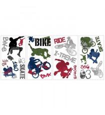 ROOMMATES Lot de 25 stickers SPORT STREET EXTREME repositionnables 4 feuilles de 10,1cm x 44,1cm