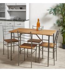 MIRABEL Ensemble table et chaises de 4 a 6 personnes contemporain en métal gris et MDF décor chene - L 110 x l 70 cm