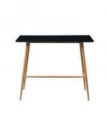 ALINA Table bar scandinave - Noir laqué satiné - L 120 x l 60 cm