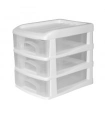 HOMEA Organiseur avec 3 mini tiroirs plastique 13x17x15,5 cm blanc