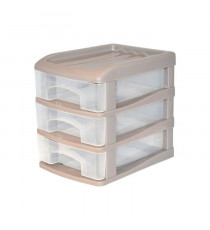 HOMEA Organiseur avec 3 mini tiroirs plastique 13x17x15,5 cm taupe