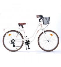 """MICMO Vélo de ville Femme 26"""" Café Creme - 6 vitesses - Creme"""