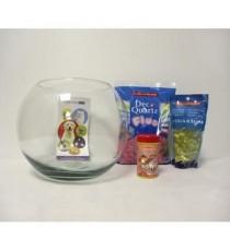 TYROL Kit Aquaboule 230 - Aquarium en boule en verre + Alimentation + Gravier pour Aquariophilie - 5 L