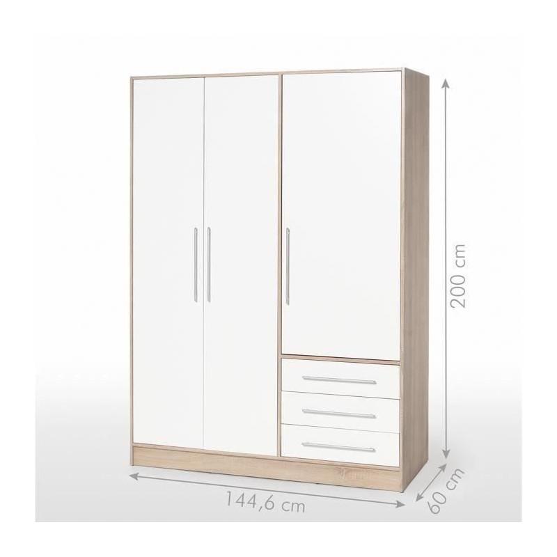 JUPITER Armoire de chambre style contemporain en bois aggloméré chene et blanc