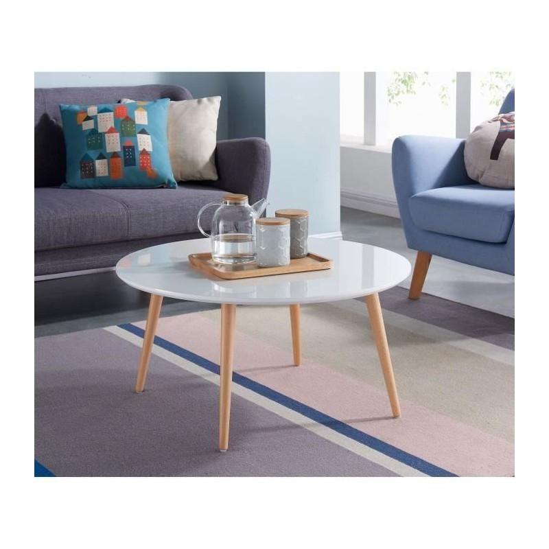 STONE04 Table Basse Style Scandinave En MDF Laqué Blanc Brillant   L 80 X L  80 C
